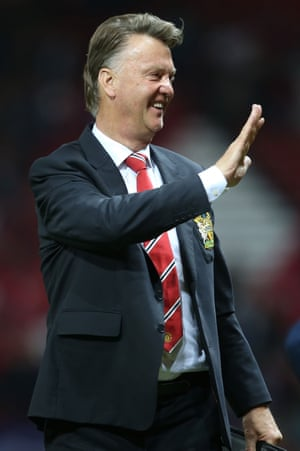 United manager Louis van Gaal seems pleased with the night's work.