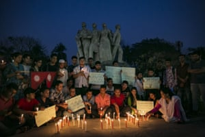 A candlelight vigil for the victims of the US-Bangla plane crash. At least 50 people were killed on Monday when a passenger plane from Bangladesh crashed and burst into flames as it was attempting to land at Kathmandu's Tribhuvan airport
