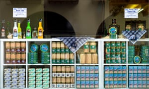 Canned tuna and anchovy in a shop window in northern Spain