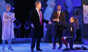 Gregg Henry as a Trump-like Caesar during a dress rehearsal of a production of Julius Caesar in New York.
