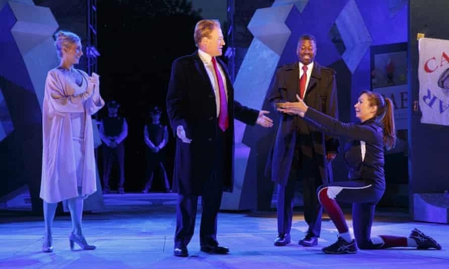 From left, Tina Benko as Calpurnia, Gregg Henry as Caesar, Teagle F Bougere as Casca and Elizabeth Marvel as Mark Antony in Julius Caesar, Central Park, New York, 2017.