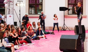 Adwoa Aboah speaking at a Gurls Talk event in Warsaw