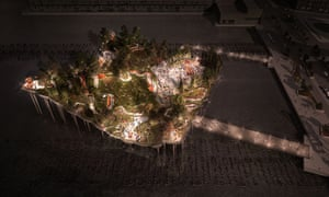 The Hudson River island park project by night