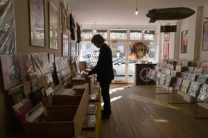 Thurston searches for gems in his Stoke Newington pop-up record store, Ecstatic Peace Library.