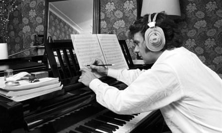 Dudley Moore at home in London in the 1970s.