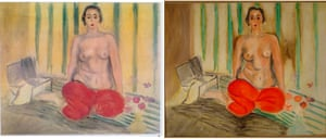 The original painting by Matisse titled Odalisque in Red Pants, left, next to a fake version that was on display at the Museum of Contemporary Art in Caracas, Venezuela. The original work was swapped with a forgery in 2002.