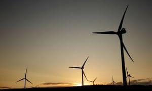 Turbines at sunset on Green Rigg Wind Farm, Northumberland