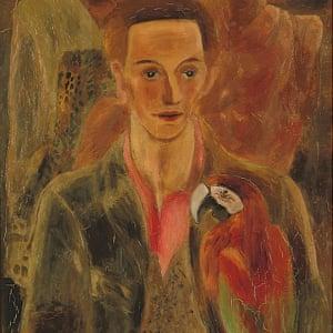 Birdman ... Cedric Morris (Man with Macaw), 1930, by Frances Hodgkins (1869–1947).
