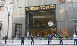 Police take security measure in front of the Trump Tower in New York City on 14 August 2017.