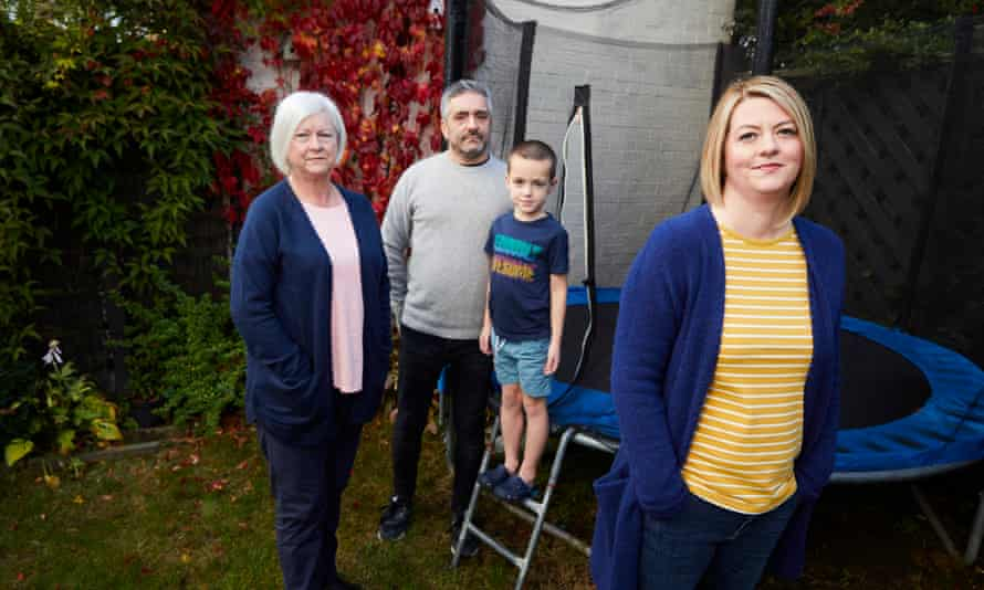 Kathryn de Prudhoe, who's father, Tony Clay, died in April after contracting Covid-19 aged 60, with her husband Nic, son Jacob and her mother, Joyce Clay at home in Leeds.