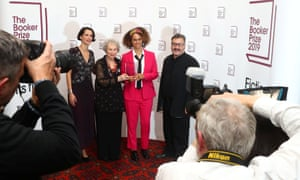 From left: Gaby Wood, literary director of the Booker Prize Foundation; Margaret Atwood; Bernardine Evaristo; and Peter Florence, chair of the Booker prizes, after the announcement.