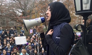 Eeman Abbasi speaks during a protest on the University of Connecticut campus against the election of Donald Trump.