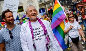 Sir Ian McKellen walking through Piccadilly Circus during Pride in London 2019.