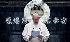 Pope Francis speaking at the Nagasaki hypocenter memorial.