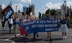 An NHS pay rise protest outside the Houses of Parliament earlier this month.