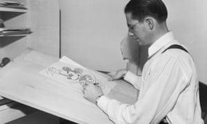 An animator draws Mickey Mouse at Disney Studios.