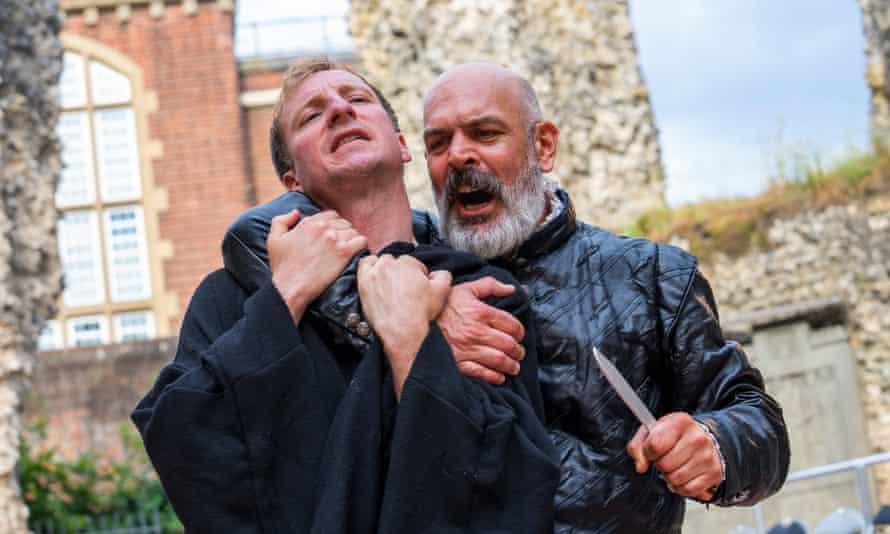 Timothy Allsop as the abbot Hugh Faringdon, with Alex Hughes as the king.