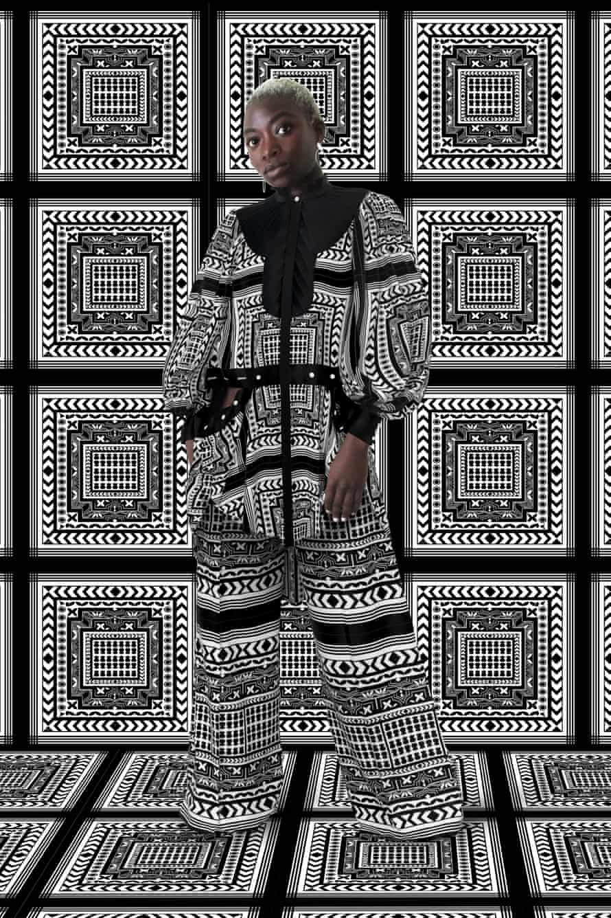 Bukky Adejobi, a Tokyo based entrepreneur, wearing a digital garment designed by Anyango Mpinga