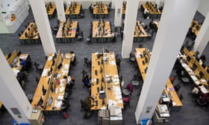 Students inside the main LSE library designed by Norman Foster