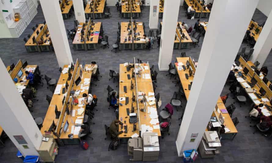 Inside a university library