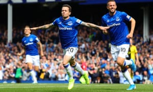 Bernard celebrates scoring the decisive goal for Everton against Watford.