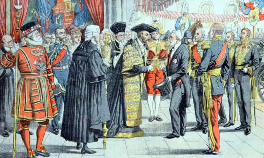 An engraving showing the Lord Mayor of London presenting French president Emile Loubet in July 1903.