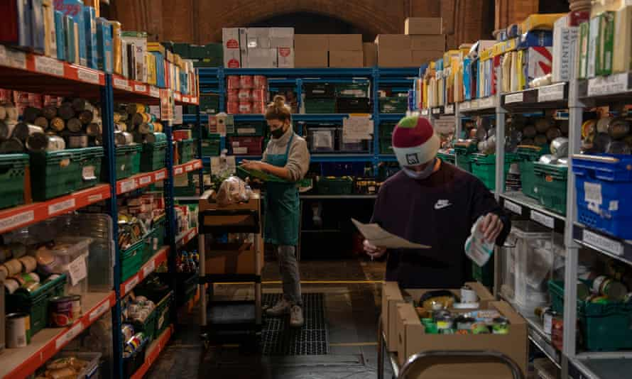 Volunteers at a south London food bank