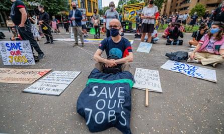 Protest against job losses outside Tate Modern, London