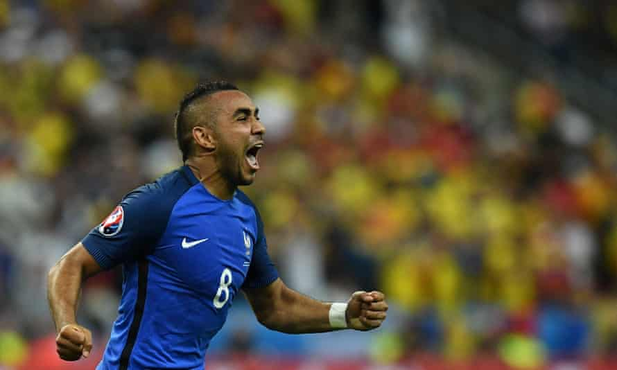 France's Dimitri Payet celebrates after scoring what proved the decisive goal in a 2-1 win against Romania