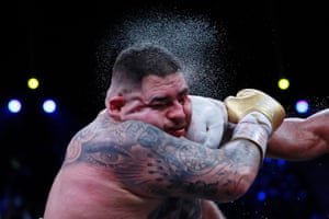 Andy Ruiz Jr receives a shuddering right from Anthony Joshua.
