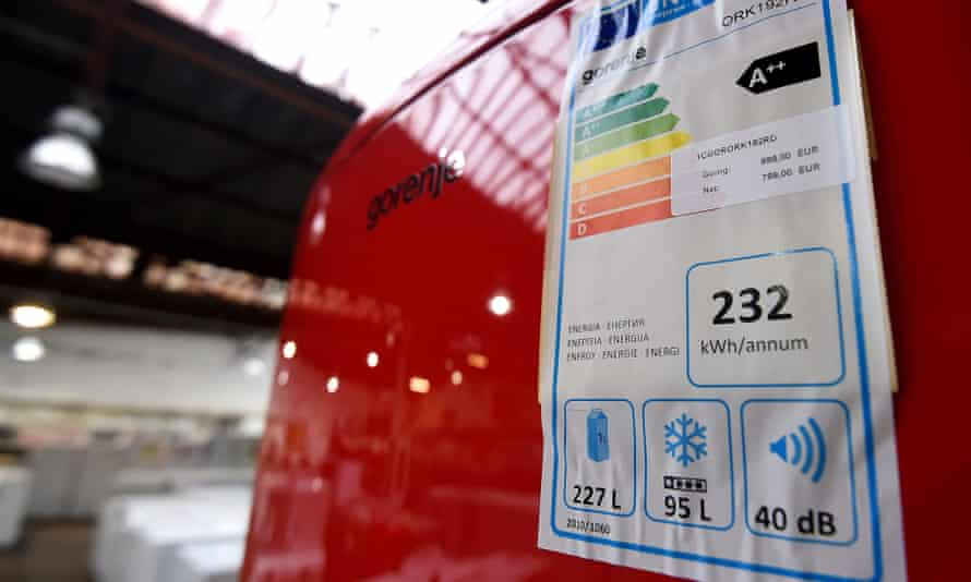 An energy rating label on a refrigerator in a store in Brussels.