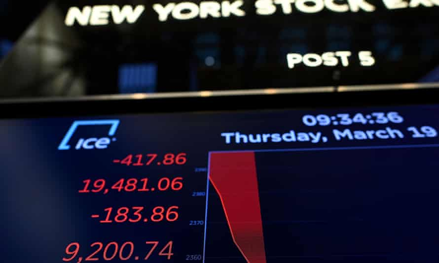 Wall Street stocks fell again early Thursday as central banks unveiled new stimulus measures and US jobless claims showed an initial hit from the slowdown generated by the coronavirus outbreak.