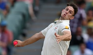 Australia's Mitchell Marsh bowls a pink ball against New Zealand in Adelaide in 2015 in cricket's first ever day-night Test.