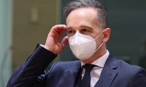 German Foreign Minister Heiko Mass attends EU Foreign Ministers meeting in Brussels, Belgium on March 22, 2021.