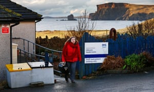 Bowie leaves Hillswick health centre.