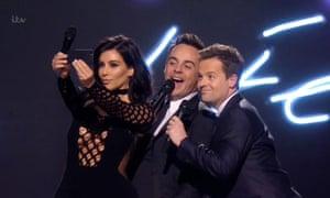 Kim Kardashian takes a selfie with Ant and Dec