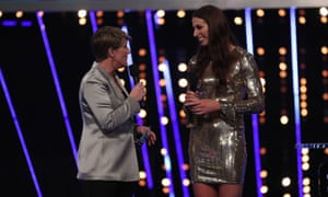 Taekwondo Olympic medallist Bianca Walkden is interviewed by Clare Balding during the BBC's Sports Personality of the Year award show.