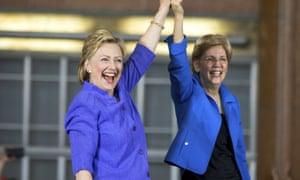 Hillary Clinton and Elizabeth Warren join forces in Cincinnati, Ohio.