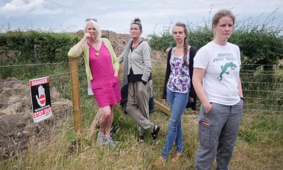 Local resident June Davison with protesters near the open-cast boundary