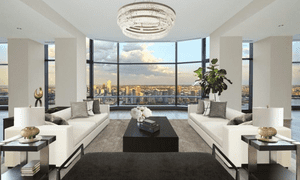 Interior of UK trade commissioner's penthouse at 50 United Nations Plaza in New York