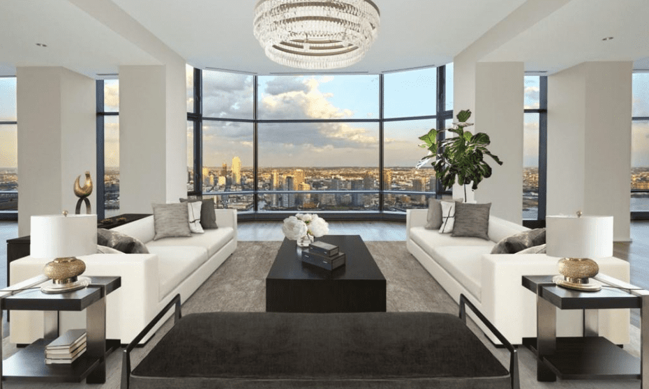 The apartment occupies the entire 38th floor of the Norman Foster-designed 50 United Nations Plaza building.