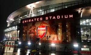 Areenal's Emirates stadium at night