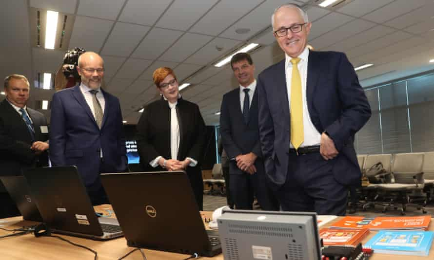 Prime minister Malcolm Turnbull, cyber security minister Angus Taylor and defence minister Marise Payne at the opening of the Australian Cyber Security Centre in Canberra on Thursday.