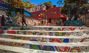 Colourful square, with mosaic, in Valparaíso, Chile.