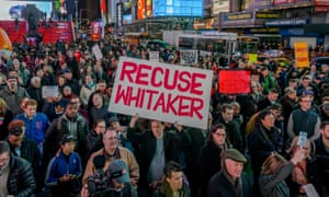 Thousands of New Yorkers protested in Times Square to denounce new acting attorney general Matthew Whitaker on Thursday.