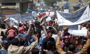 Activists protest in Syria in April 2011.