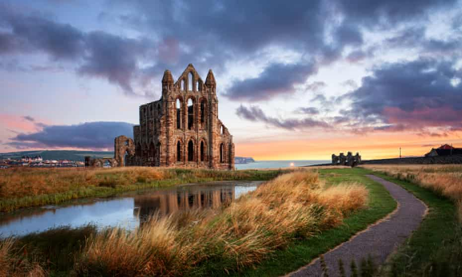 whitby abbey reflected in water