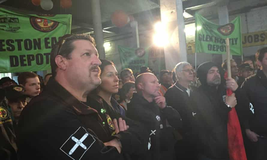 Hundreds of Yarra Trams staff attend a stop work meeting during a four-hour tram strike on Thursday August 27.