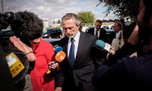 Francisco Correa (C) leaves the National Court of San Fernando de Henares after attending the trial on the Gurtel political corruption scandal, in Madrid, Spain, 13 October 2016.
