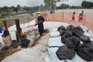 Burning of waste in the vaccination areas